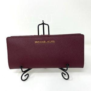 Michael Kors Slim Bifolder Leather Merlot Maroon